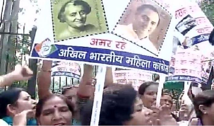 Women Congress members protest against discontinuation of Indira Gandhi, Rajiv Gandhi postal stamps in Delhi