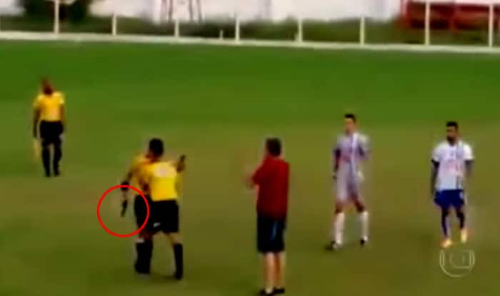 Shocking! This referee pulled out gun during football match in Brazil – Video goes viral