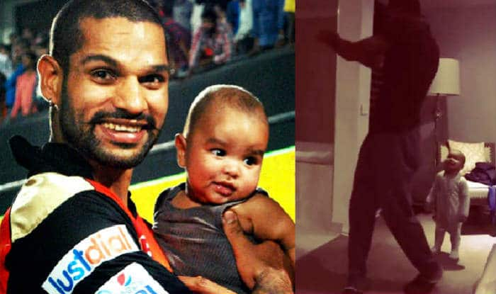 Shikhar Dhawan & son Zoravar play 'pull shot': Watch Father-Son duo do 'shadow practice'