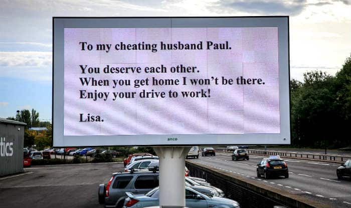 Wife dumps cheating husband with huge advertising billboard alongside Sheffield Parkway!