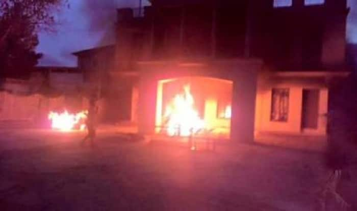 Agitated mob sets fire to houses of Manipur minister, lawmakers