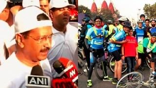 दिल्ली में आज 'कार फ्री डे', केजरीवाल ने किया साइकिल रैली का नेतृत्व
