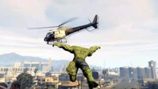 The Hulk throws trains at helicopters in GTA V