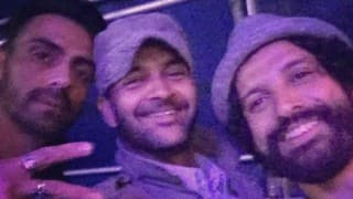 Farhan Akhtar attends NH 7 with his Rock On 2 boys!