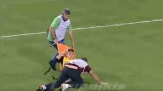Video of Greek stretcher-bearers dropping an injured player is hilarious