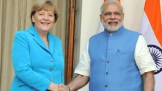 Angela Merkel flies into Bengaluru; visits Bosch on Tuesday