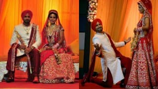 Harbhajan Singh & Geeta Basra wedding photographs: Indian cricketer and wife make a royal pair!