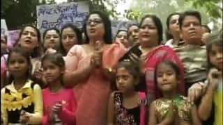 Congress stoops to new low: Deploys children to protest outside Arvind Kejriwals's residence