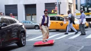 Aladdin in real life? This guy floats 'magic carpet' in New York City (Video)