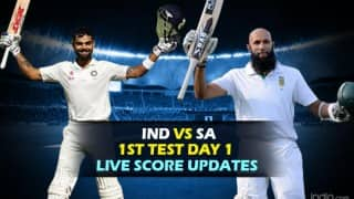 SA 28/2 | STUMPS | India vs South Africa 1st Test 2015 Day 1 Live Cricket Score Updates: IND vs SA in 20 Overs