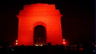 India Gate lights up in orange for UN's violence against women