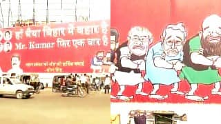 Grand Alliance win: Nitish Kumar trolls BJP with caricatures of Narendra Modi, Amit Shah in Patna