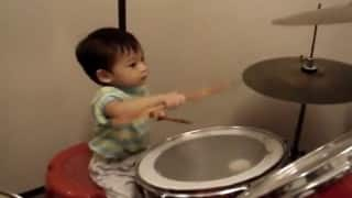 WOW! 5-year-old child play drums, surprises people