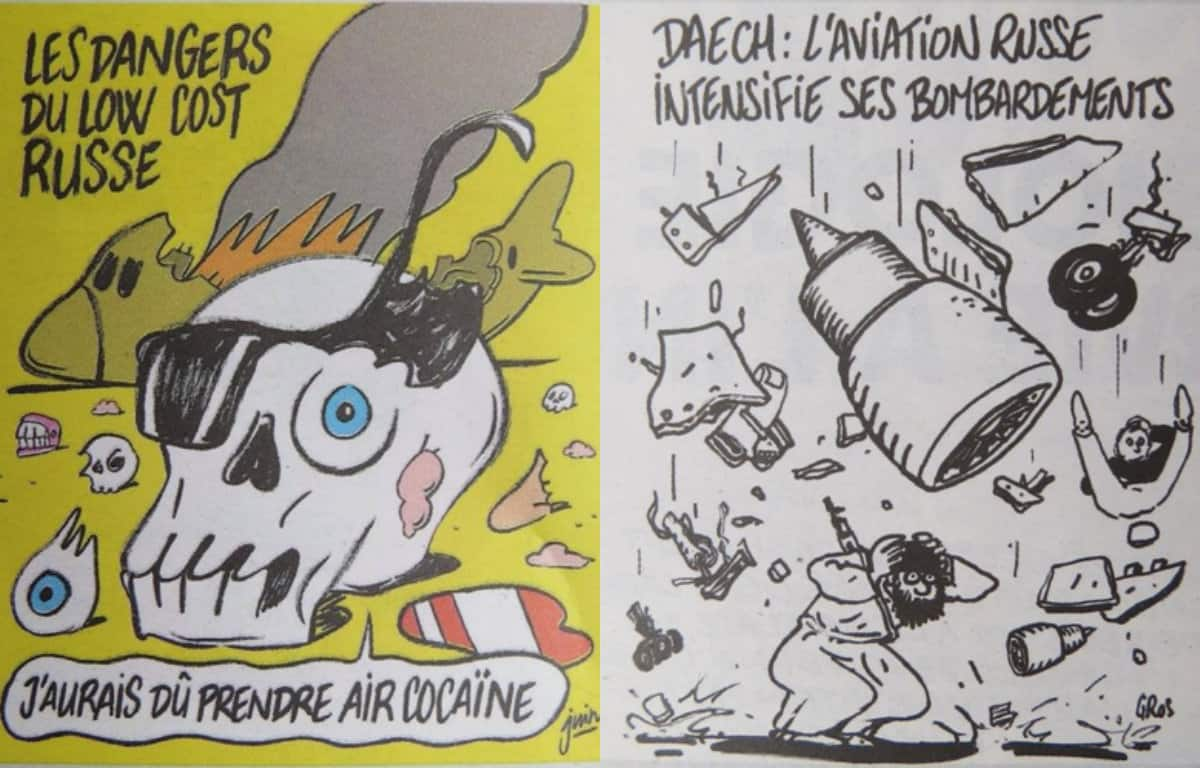 Russia hits out charlie hebdo for mocking plane crash with their cover