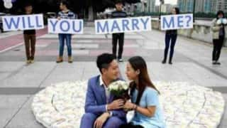 Chinese man proposes girlfriend with diapers