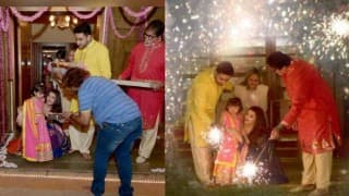 Cute pics of Aaradhya Bachchan enjoying festival of lights: See how Bachchans celebrate Diwali!