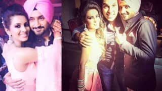 Yuvraj Singh poses with Harbhajan Singh & Geeta Basra in a sweet post-wedding picture!