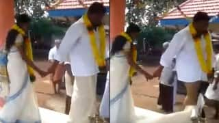 The Great Kerala funny wedding fall: Oops! Things didn't go as well as planned for this guy(Watch Video)