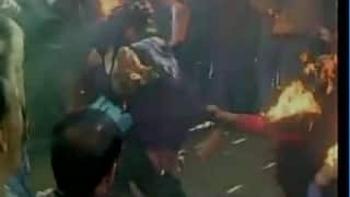 National Herald case: Congress worker sustain burn injuries while trying to set effigy on fire