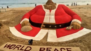World's 'tallest' sand Santa Claus stands at Puri beach