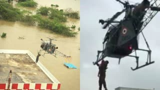 Indian Air Force airlifts pregnant lady from a flood-hit region in Chennai