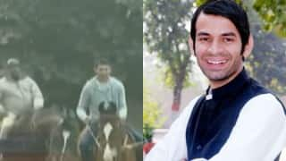 Lalu's son Tej Pratap Yadav rides horse to curb pollution in Patna! Is he the next Arvind Kejriwal?