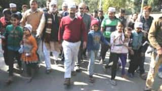 Aam Aadmi Party workers protest outside Arun Jaitley's residence