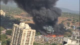 Massive fire breaks out in godown in Kandivali, 16 fire tenders at spot (Video)