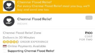 Chennai rains: Zomato introduces meal scheme for flood victims