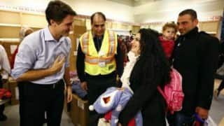 Welcome home: Canadian PM to Syrian refugees in Toronto