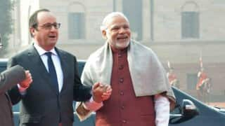 Francois Hollande in India: French president receives ceremonial reception at Rashtrapati Bhavan (Watch Video)