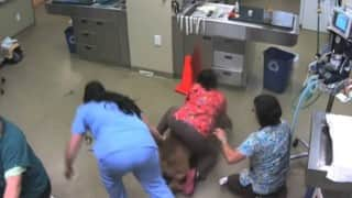 Hilarious moment when a huge dog took his vet nurse for a ride!