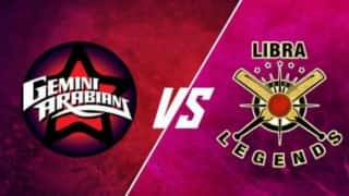 Arabians won by 78 runs | Live Score Updates Masters Champions League 2016 (MCL) T20 Libra Legends vs Gemini Arabians: LL 156/8 in 20 Overs