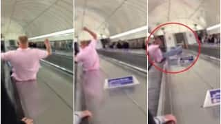 This man's failed escalator stunt shows you how not to use an escalator!