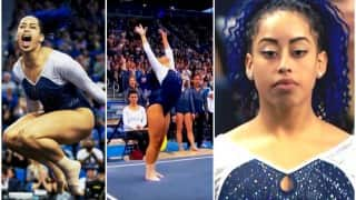 UCLA Gymnast Sophina DeJesus slays with amazing hip hop moves during floor routine!