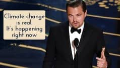 Oscar Awards 2016: Leonardo DiCaprio focuses on climate change during his first Oscars speech! Watch video