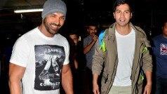 Dishoom stars John Abraham and Varun Dhawan spotted at Mumbai airport