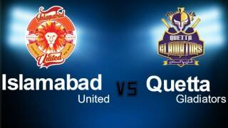 Gladiators won by 8 wkts | Live Cricket Score Updates Pakistan Super League (PSL) T20 2016 Islamabad United vs Quetta Gladiators