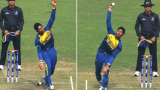 Kamindu Mendis bowls with both hands in U-19 World Cup 2016