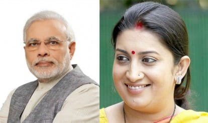 Narendra Modi, Smriti Irani at seminar of schools run by RSS-affliated body