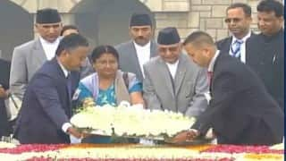K.P. Sharma Oli pays tribute to Mahatma Gandhi at Rajghat