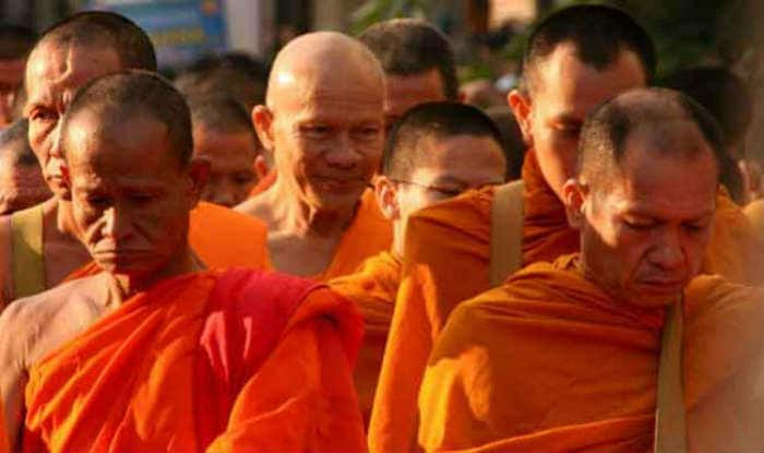 Indian Buddhist monks march for peace in Myanmar, his eminence Thuksey Rinpoche leads