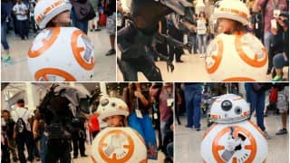 Adorable astromech droid BB-8 Star Wars: The Force Awakens transforming Cosplay at WonderCon 2016