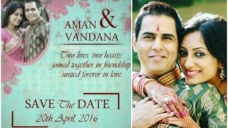 Aman Verma & Vandana Lalwani wedding card is here! Check out  Bigg Boss 9 contestant's beautiful wedding invitation card