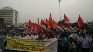 Central Trade Unions stage dharna before East Singhbhum district headquarter