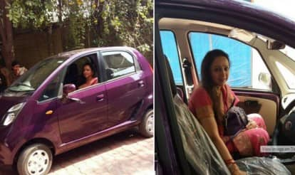 Cute! Dream Girl Hema Malini buys Nano Twist car for herself and shares pictures!