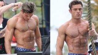 Zac Efron goes shirtless, flaunts body on Baywatch filming set