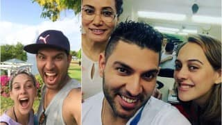 Hazel Keech photobombs Yuvraj Singh's post haircut selfie! View pics