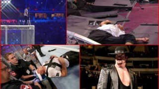 WWE WrestleMania 32 Undertaker vs Shane McMahon: Watch Shane fall over 20-feet trying to elbow drop The Undertaker!