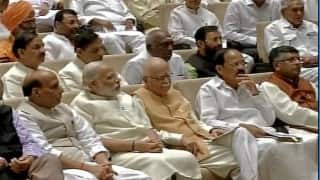 Narendra Modi shakes hands with opposition leaders in Rajya Sabha; new MPs take oath